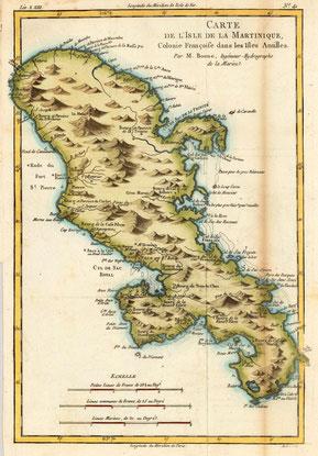 alte Karte von Martinique